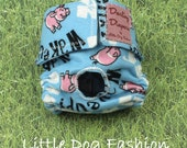 Dog diaper, Washable dog diaper, reusable dog diaper, Cloth diaper for small dog, Pigs on Blue