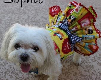Dog Dress, Dog Harness Dress, Fall Dress for Small Dogs, Dog Fashion, Yellow Dress for Dogs, Ruffle Dress for Dog, Handmade Dress, Cow