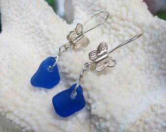 Butterfly genuine cobalt sea glass beach glass sterling silver dangling earrings