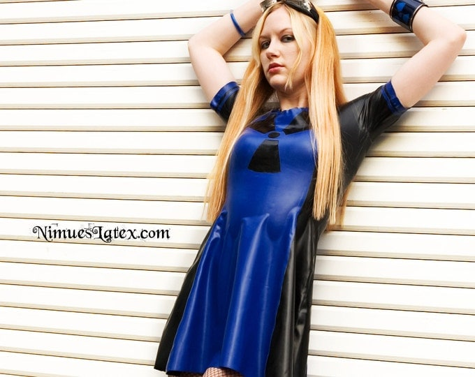 Featured listing image: Two-Tone Latex Skate Dress, short sleeves and A-line bottom.  Optional Radiation decal.
