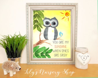 Woodland Nursery  Art / Owl Art Print / Watercolor Yellow Gray Nursery / You are my sunshine / Boy Nursery Decor / Owl Nursery