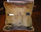 Floral silk olive Pillow case/ Organizer /3pockets  to keep tract of remote control , Glasses , iPhone