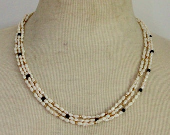 Vintage Fresh Water Pearl Necklace Black Onyx Multi strand