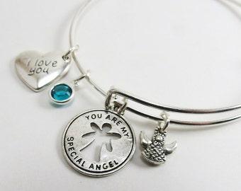 Angel Wings Bracelet, Angel Bracelet, Stackable Bracelet, Adjustable Bangle, I Love You Bracelet, Guardian Angel Bracelet & Birthstone