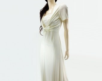 White Maxi Dress, Vintage 70s Dress, 70s White Maxi Dress, 70s Boho Dress, Cropped Jacket, 2 pc Off White Maxi, 70s Wedding Dress, xs, s