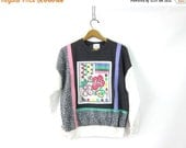Abstract Floral Color block Patch Sweatshirt 80s Faded Saved by the Bell Novelty Sweater Graphic Flowers 1980s Indie Sweatshirt Womens Smal