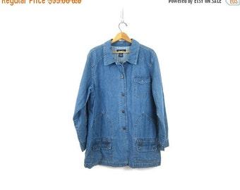 Vintage Denim Field Jacket Light Wash Jean Jacket Chore Coat Long Slouchy Jacket Preppy Barn Coat Womens Size XL Extra Large