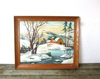 Large Paint by Numbers Painting Barn Country Winter Snow Landscape Framed Vintage Art Mid Century Retro wall hanging Louanne's Estate Sale