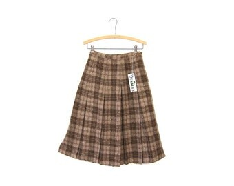 Plaid 50s Brown Wool TWEED Skirt Pleated High Waist Skirt Speckled Modern Preppy Midi Over Knee Length Mod Extra Small XS Louanne's Vintage