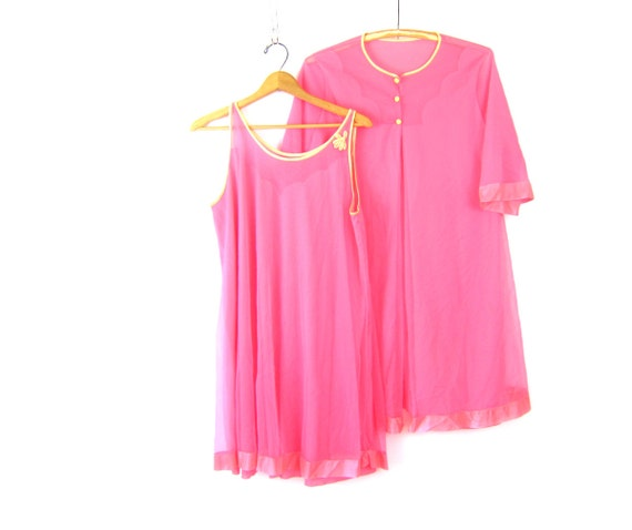 Vintage Pink slip nightgown with robe coverup Sheer Set Retro 1960s Mid Century Peignoir Dressing Robe Boudoir Pin-Up movie star Lingerie