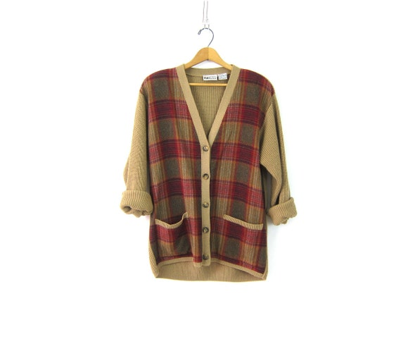 Red Plaid Sweater Button Down Cardigan Sweater Cozy Oversized Tan School Girl Sweater Preppy Jumper with Pockets Women's Size Medium