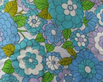 Vintage cotton fabric 60s 70s mod retro floral aqua purple flowers FQ fat quarter 1/4 yard