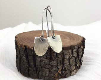 Scallop Earrings, Oxidized Silver
