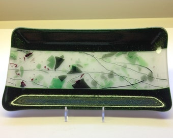Fused Glass Serving Platter In Greens