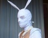 Stark White Lined Bunny Gimp Mask Handmade by Tsukatta SALE