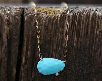 Rose Cut Turquoise Diamond Pendant Necklace