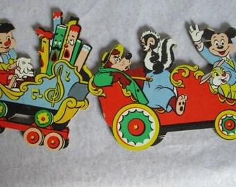 Vintage Disney Characters Wall Decor Plaques Train