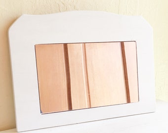 White Wooden Frame Mirror Curvy Wood Wall Hanging Framed
