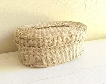 Vintage Woven Basket with Lid Oval Storage
