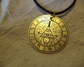 Bill Cipher Etched Brass Pendant