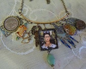 Soldered Glass Frida Charm Necklace - Assemblage Necklace - REDuCED