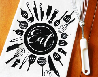 Flour Sack Dish Towel, Kitchen Utensils Screen Printed Kitchen Towel, Hand Printed Tea Towel, Kitchen Towel, Kitchen Decor, Foodie Gift, EAT