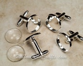 4 (2 pairs) Silver Plated Cuff link blanks, 16 mm bezel tray with 4 Glass Cabochons (07-14-393)