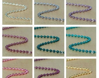 ON SALE 50 Colored Ball Chain 1.5mm Necklaces, 24 inch Chain with connectors Select your Colors.