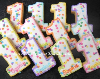 Confetti Number One Cookies - First Birthday Cookies - 12 Cookies