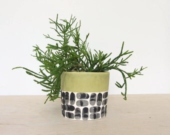 Round Brick Pinched Planter in Olive Green - Made to Order