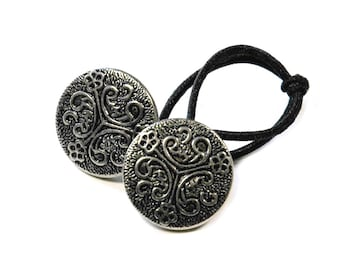 Ponytail Holder Hair Accessory - Celtic Knot Motif, Vintage Silver Metal Buttons, Friendship Gift, Braid Wrapper