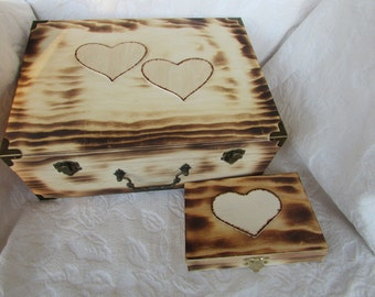 CIJ SALE Rustic Wood Burned His Hers Divided Wedding Set Card Ring Bearers Box Hearts
