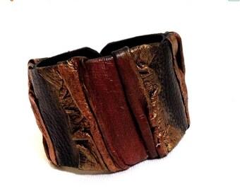 50% OFF SALE Women's leather bracelet  Cuff bracelet  Statement Leather jewelry Wide fashion wristband