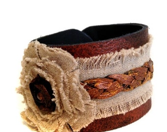 50% OFF SALE Rustic leather bracelet  Boho style Linen Cuff Bracelet  Women's bracelet Leather jewelry