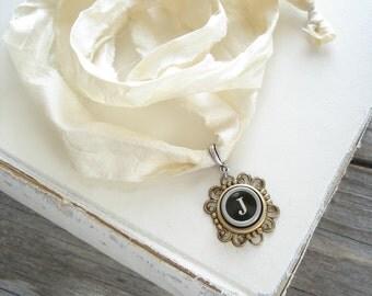 Typewriter Key Necklace SALE. Letter J Necklace. Vintage Typewriter Key Jewelry. Long Boho Sari Silk Ribbon Necklace. Upcycled Eco Friendly.