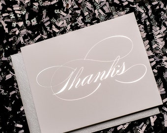 Silver Foil Thank You Cards - 10pk
