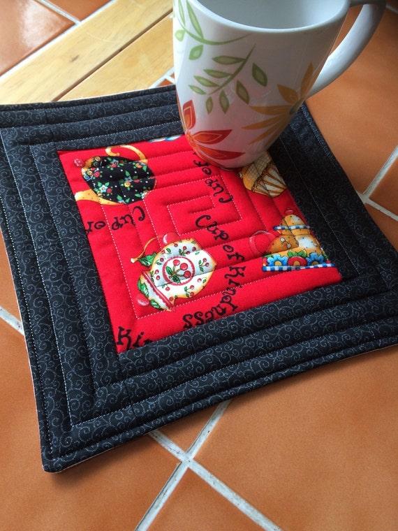 Mary Engelbreit teacup - Mug Rug or Candle Mat  Oversized Coaster