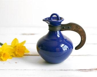 Vintage Mid Century Modern Cobalt Blue Franciscan / Gladding McBean El Patio Small Ceramic Carafe with Wood Handle