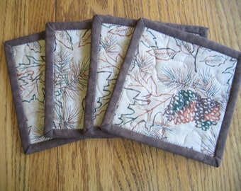 Quilted Coasters in a Leaves, Pinecone and Acorn Pattern - Set of 4