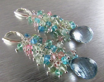 25% Off Summer Sale Aquamarine and Pale Blue Quartz Long Cluster Sterling Silver Earrings