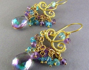 20 % Off Mystic Quartz, Pink Amethyst and Apatite Chandelier Earrings, Exotic, Boho