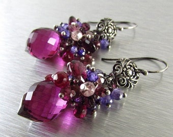 BIGGEST SALE EVER Spinel, Quartz and Rhodolite  Garnet Cluster Earrings - Gemstone Post Earrings