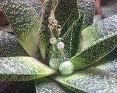 Aloe and Mint beaded crystal and pearl earrings