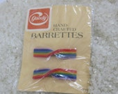 Vintage barrettes, 1975 retro barrettes rainbow stripes, NOS new old stock dated 1975, rainbow twist