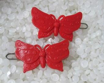 Vintage barrette, red polka dot butterflys , rare pair