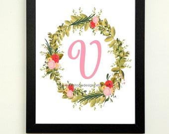 Letter V Printable, 8x10 Instant Download, Baby Girl Nursery Art, Nursery Wall Decor, Floral Monogram, Baby Girl Gift, Baby Shower Gift
