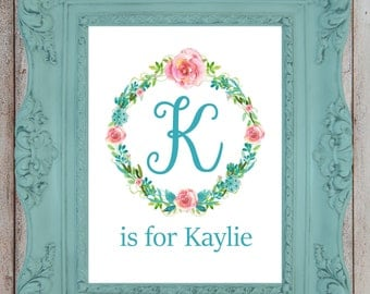 Personalized Nursery Print, Baby Girl Nursery Wall Decor, Custom Name Print, New Mom Gift, Nursery Art, Child Wall Art, Floral Monogram