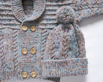 Boys Textured Double Breasted Jacket and Hat Set. Hand Knit Childrenswear.