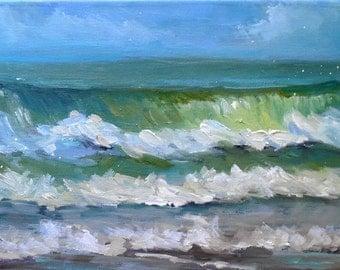 "Seascape Oil Painting, Impressionist Oil Painting, Ocean Waves, 8x16x.75"" Original Art, ""Atlantic Breakers"""