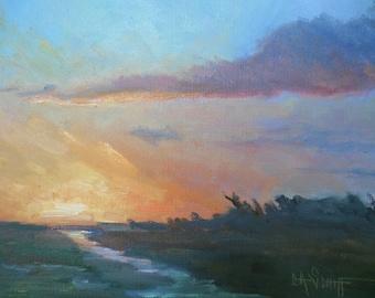 "Small Marsh Sunset Painting, Scenic Landscape, 8x10"" Impressionist Landscape, Orange Sky, Lavender Clouds, By CarolSchiffStudio"